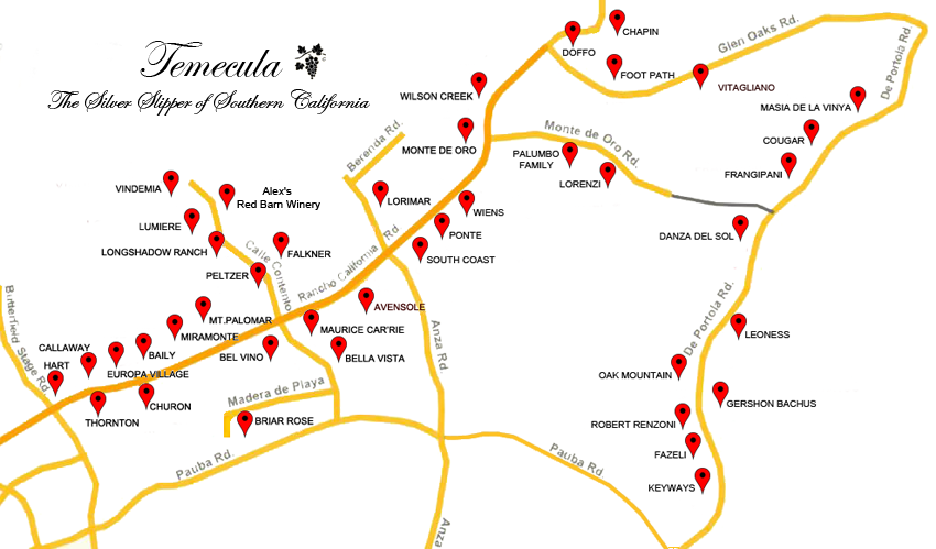 Temecula Winery Map on